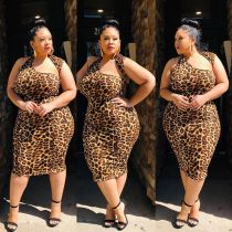 Leopard print irregular collar sexy size dress JLY1874