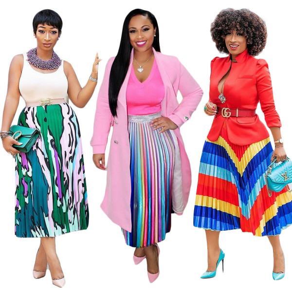 Leisure Printing Summer Pleated Skirt For Women SN3524
