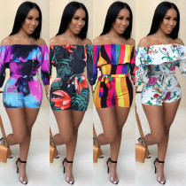 Sexy revised printed layered sleeve belt jumpsuit FS25