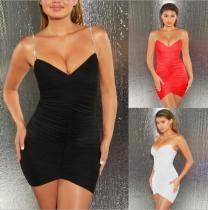Summer sexy diamond suspenders pleated bag hip skirt dress ZY1107