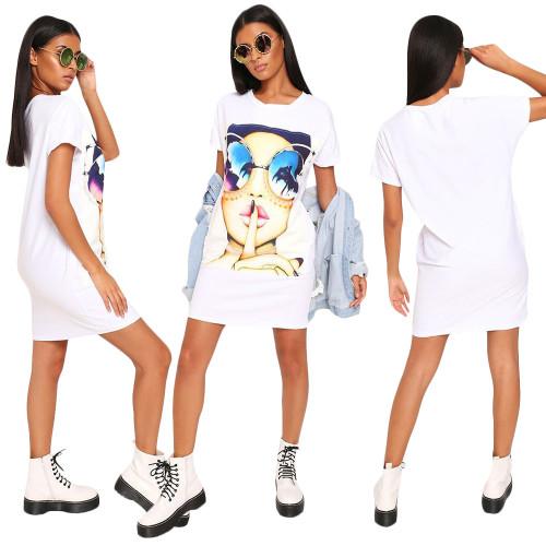 Leisure Short Sleeves T-Shirt Women Printing Wrap Dress SN3634