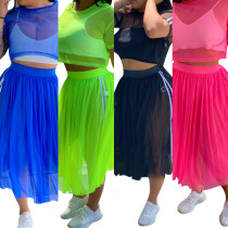 Solid Color Perspective Stretchy Suits Crop Top Mesh Skirt QQM3794