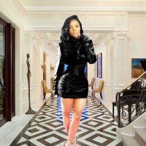 Black Women PU Leather High Neck Pleated Dress BS1003