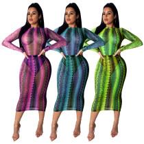 Cheap Snake Print Mesh Perspective Midi Dress SDD9095