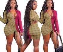 Sexy digital print color-block package hip dress nightclub YS6124