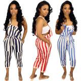 Leisure Women Stripe Drawstring Condole Belt Jumpsuit MTY6138