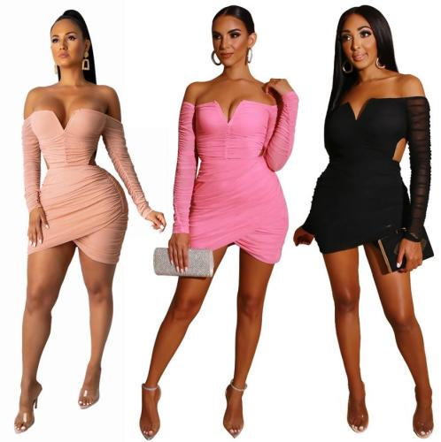 Long Sleeve Slim Fit Hip Elastic Dress Single Neck Sexy Nightclub Dress FM1210