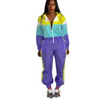Hot Sale Zip Up Color Block Jumpsuit For Sport DN8210