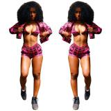 Women Sexy Bodycon Checks 3 Pieces Shorts Suits LS6233