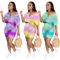 Sexy women's tie-dye strapless two-piece suit ZH5191