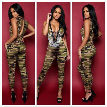 Sleeveless V Neck Bodycon Camouflage Clubwear Sexy Long Jumpsuit ALS7553