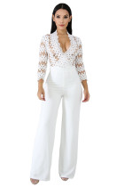 Fashion Solid Color Lace Patchwork Straight Jumpsuit CCY8007