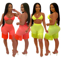 Club Pure Color Sexy Outfits Bandage Bra Top Tassel Shorts JH113