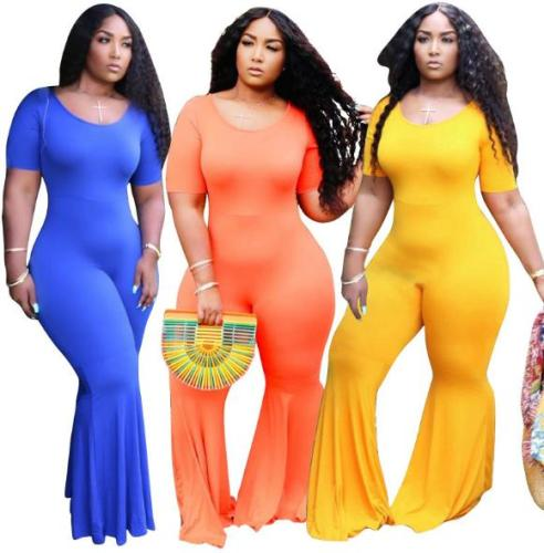 Skinny solid color wide-leg pants plus size women's overalls OSS20729