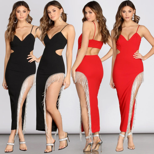 Fashion rhinestone sexy suspenders nightclub skirt dress CYF3356