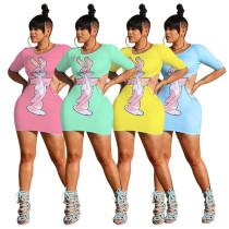 Sexy dress waist print nightclub skirt MY9618
