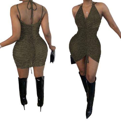 Women's Slide Light Silk Pleated Lace Dress MN8204