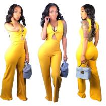 Backless Women Sleeveless V Neck Yellow Wide Leg Jumpsuit MN8040