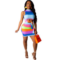 Rainbow striped strap-on Pleated Dress MN8037