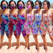 Summer Sling Digital Print Slim 6-color Jumpsuit ALS192