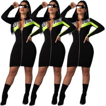 Fashion Color Block Zipper Bodycon Mini Dress E8289
