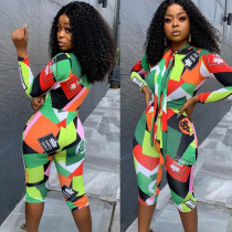 Hot Bodycon Long Sleeves Color Patchwork Mid Jumpsuit HR8056