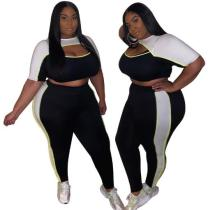 Colorblock hollow sexy tight large size women's fashion casual suit OSS20641