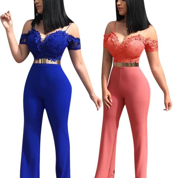 Elegant Ladies Blue/Pink Lace Patchwork Long Jumpsuit W8202