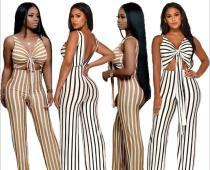 Nightclub women's fashion striped jumpsuit YS6082