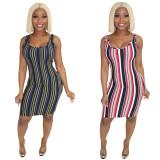 Factory Price Stripe Female Strappy Knee Length Skirt X9175
