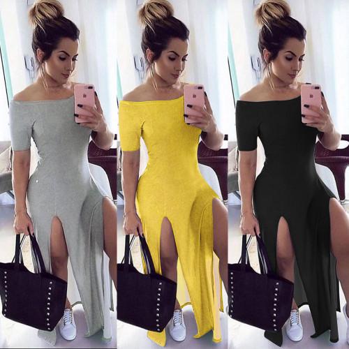 One-shoulder shoulder loose split dress dress K3010