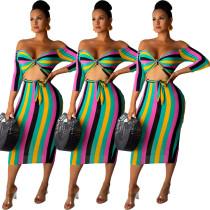 Colorful Slim Striped Half Sleeves Strapless Midi Dress RB3008