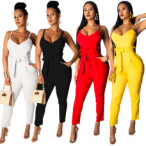 Pure Color Lady Condole Blet Skinny Jumpsuit For Daily Wear MY9366