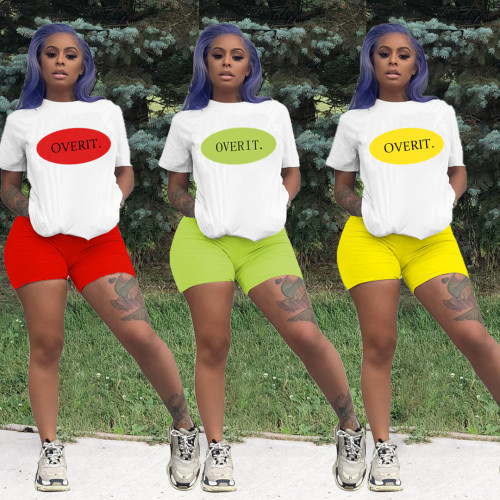 Fashionable casual letter color matching loose short sleeve shorts sports two-piece suit SM9084