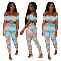 Tie-dye hip folds sexy two-piece suit KK8205