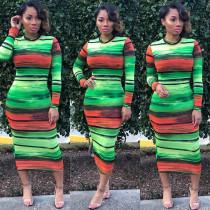Wholesale Price Women Long Sleeves Midi Dress LD8284