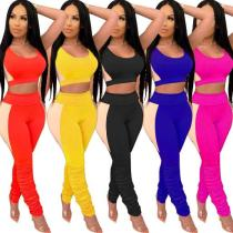 Sexy slim solid color stitching pleated sports ladies suit KZ129