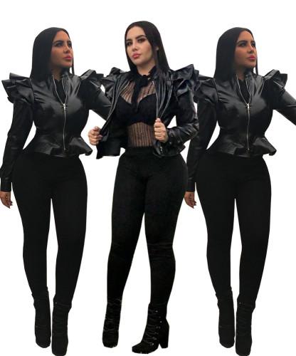 Black Pu Leather Ruffle Sleeves Jackets AA5043