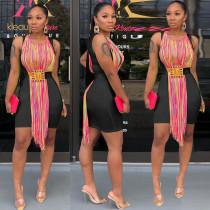 New Design Slim Bodycon Sleeveless Dress With Tassel RB3021