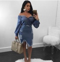 Hot Sale Denim Long Sleeves Strapless Ripped Midi Dress SS1128