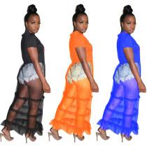 Color Eye Print Sheer Mesh Ladies Dress LSN715