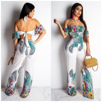 Women Printing Strapless Wide Leg Jumpsuits ORY5085