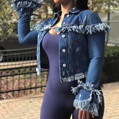 Worn short fringe fringed wind denim coat for women CJ815