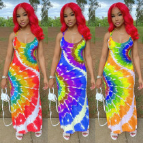 New sexy suspenders tie dye printing dress women S6221