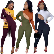 Stylish Zipper Colors Splicing High Neck Ribber Tight Jumpsuit TY1165