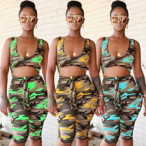 Hot Sell Camouflage Sleeveless Bandage Short Jumpsuit ALS075
