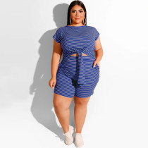 Striped fashion casual two-piece suit shorts suit OSS20702