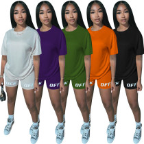 Women's letter printed sports casual short sleeve shorts two-piece set MN080