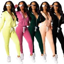 Women's Zip Sweatshirt Casual Trousers Two Piece Set LML064