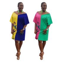 Color Patchwork Loose T-Shirt V Neck Short Dress F8123